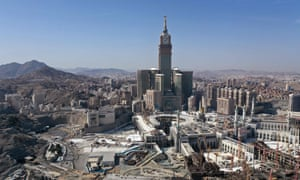 An aerial view shows the Great Mosque and the Mecca Tower and the deserted surroundings in the Saudi holy city of Mecca on 8 April 2020.