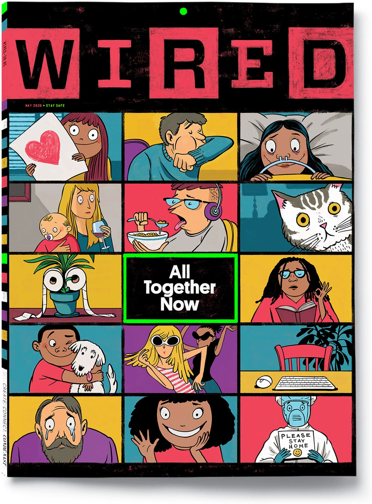 WIRED 28.05 May 2020 Issue cover with words All Together Now in grid of faces