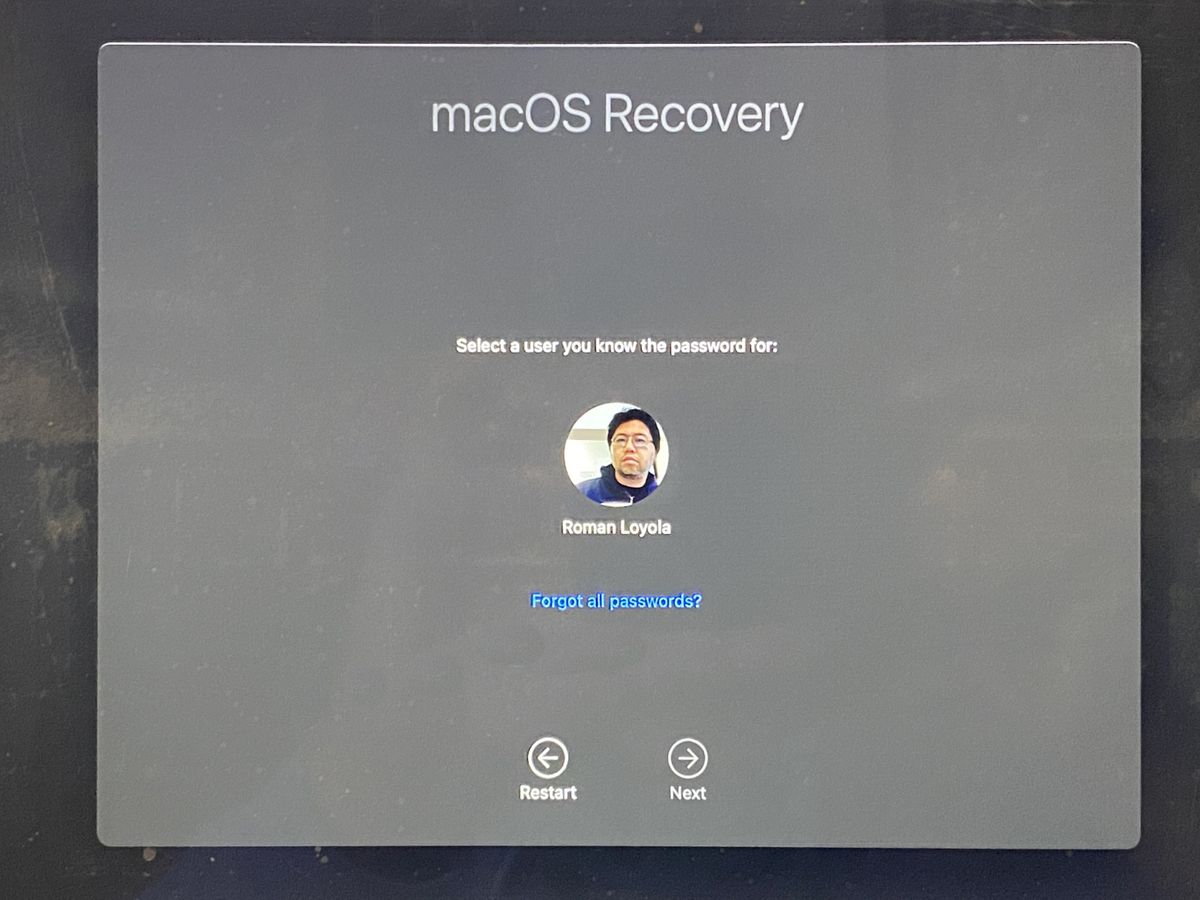macos recovery big sur user